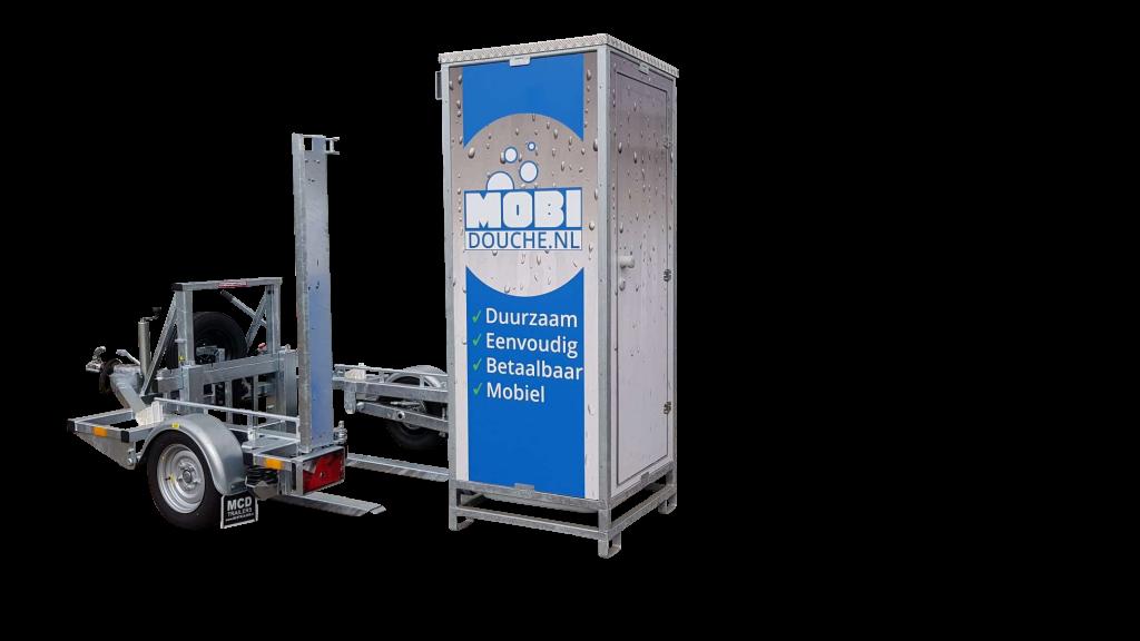 Pallet trailer with a shower unit