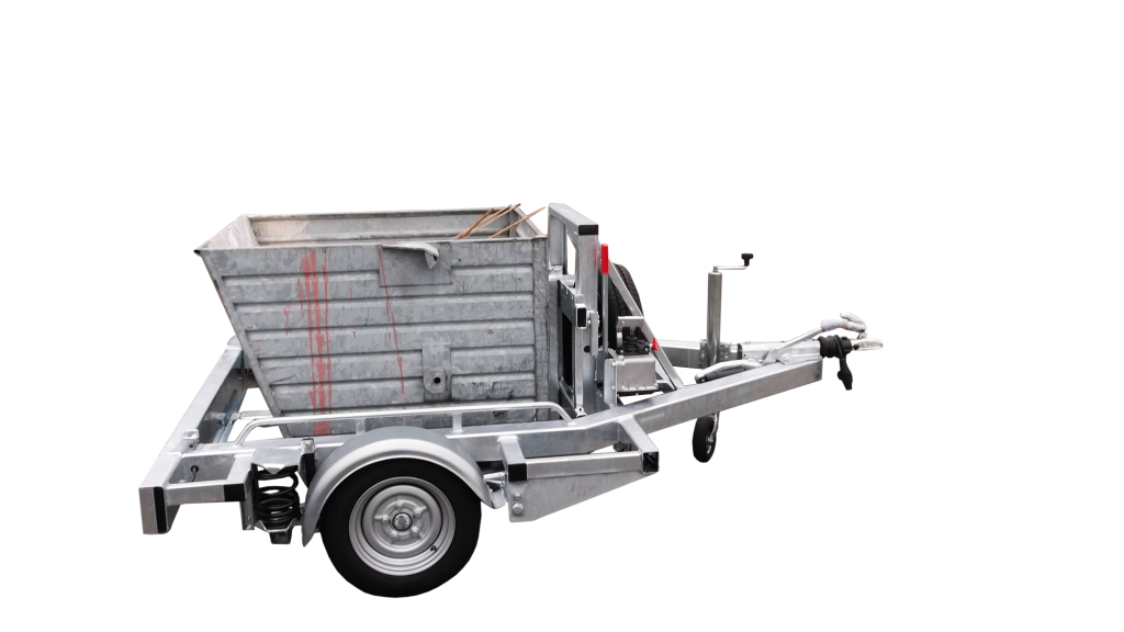 Pallet trailer with a dump container